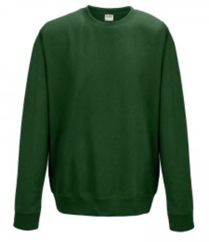 Crew Neck Bottle Green Embroidered Sweatshirt (3) (4)