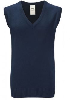 Red Spinners Navy sleeveless Knitted Jumper with Embroidered Logo